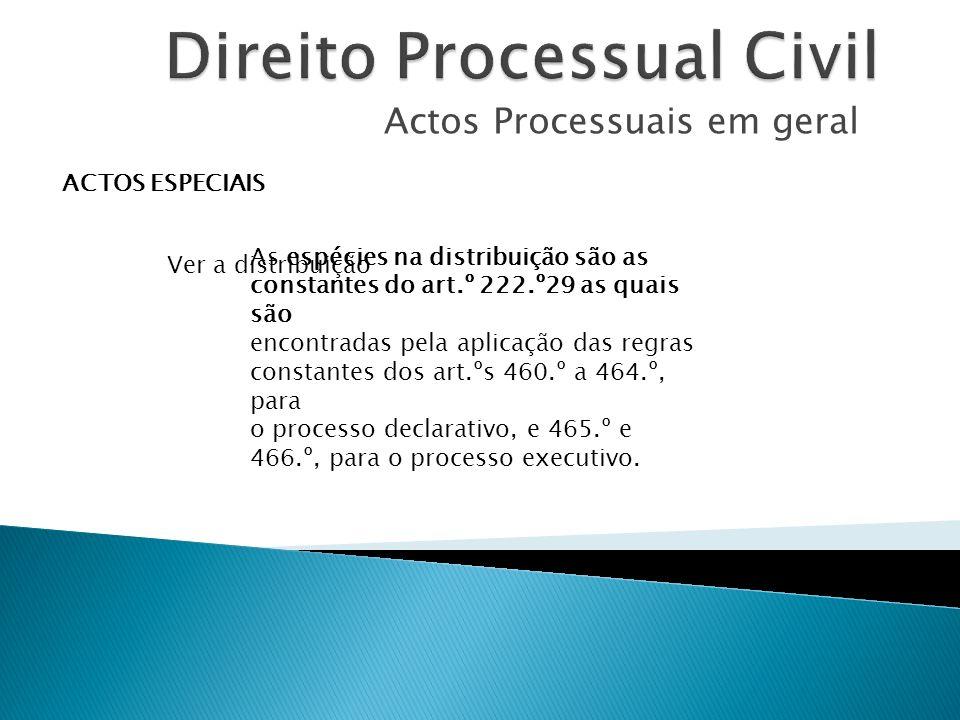 Actos Processuais em geral ACTOS ESPECIAIS Ver a distribuição As espécies na distribuição são as constantes do art.º 222.º29 as quais são encontradas