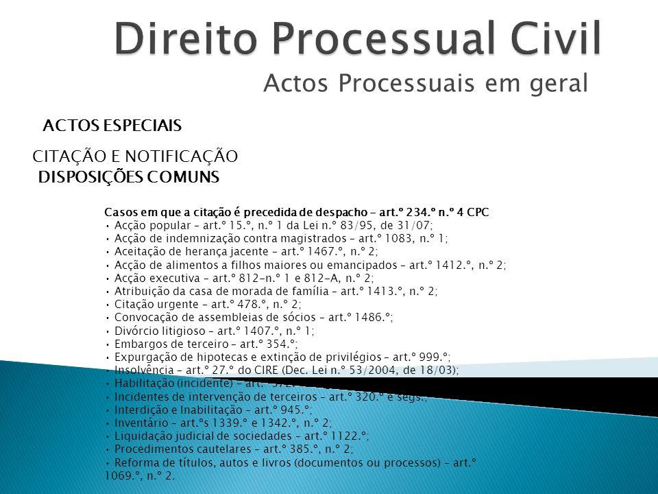 Actos Processuais em geral ACTOS ESPECIAIS CITAÇÃO E NOTIFICAÇÃO DISPOSIÇÕES COMUNS Casos em que a citação é precedida de despacho - art.º 234.º n.º 4