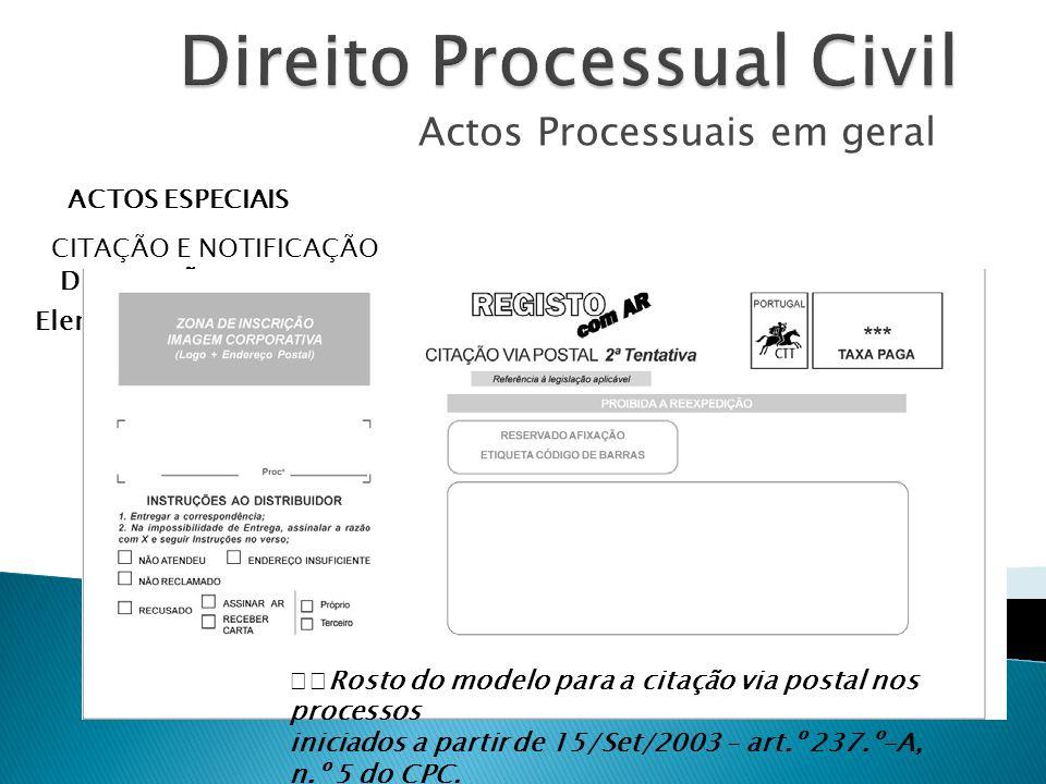 Actos Processuais em geral ACTOS ESPECIAIS CITAÇÃO E NOTIFICAÇÃO DISPOSIÇÕES COMUNS Elementos a transmitir ao citando – art.º 235.º CPC Rosto do model