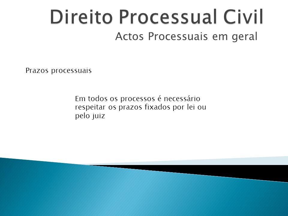 Actos Processuais em geral Prazos processuais Em todos os processos é necessário respeitar os prazos fixados por lei ou pelo juiz