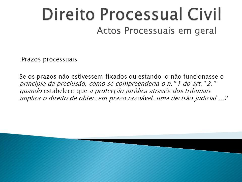 Actos Processuais em geral Prazos processuais Se os prazos não estivessem fixados ou estando-o não funcionasse o princípio da preclusão, como se compr