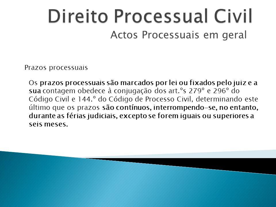 Actos Processuais em geral Prazos processuais Os prazos processuais são marcados por lei ou fixados pelo juiz e a sua contagem obedece à conjugação do