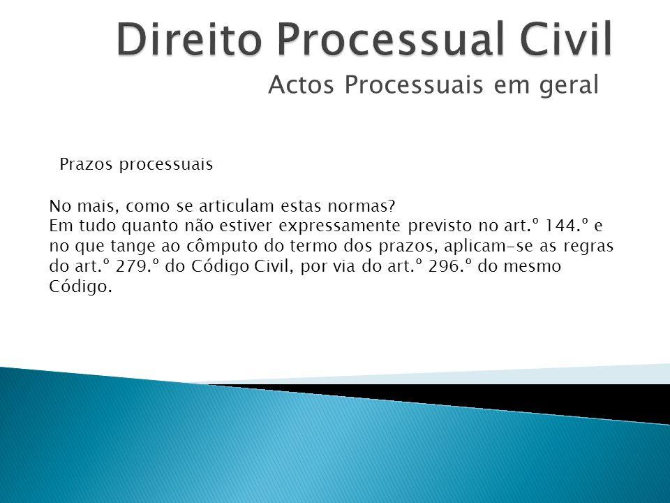 Actos Processuais em geral Prazos processuais No mais, como se articulam estas normas? Em tudo quanto não estiver expressamente previsto no art.º 144.