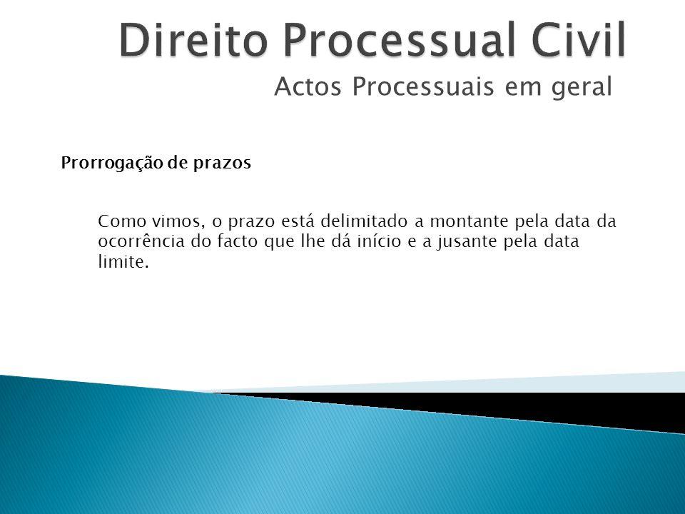 Actos Processuais em geral Prorrogação de prazos Como vimos, o prazo está delimitado a montante pela data da ocorrência do facto que lhe dá início e a