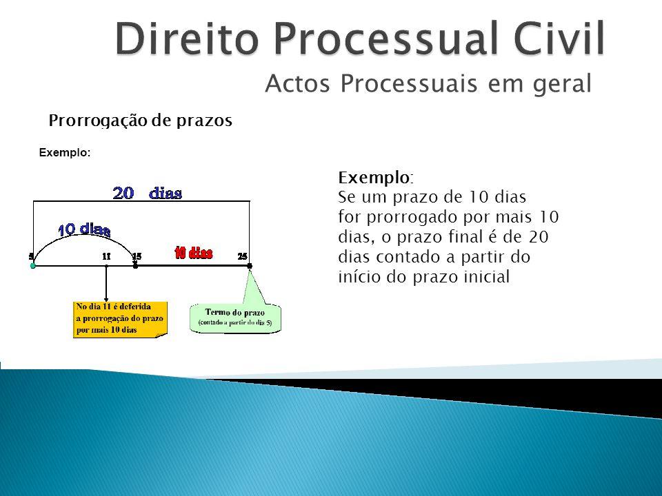 Actos Processuais em geral Prorrogação de prazos Exemplo: Se um prazo de 10 dias for prorrogado por mais 10 dias, o prazo final é de 20 dias contado a