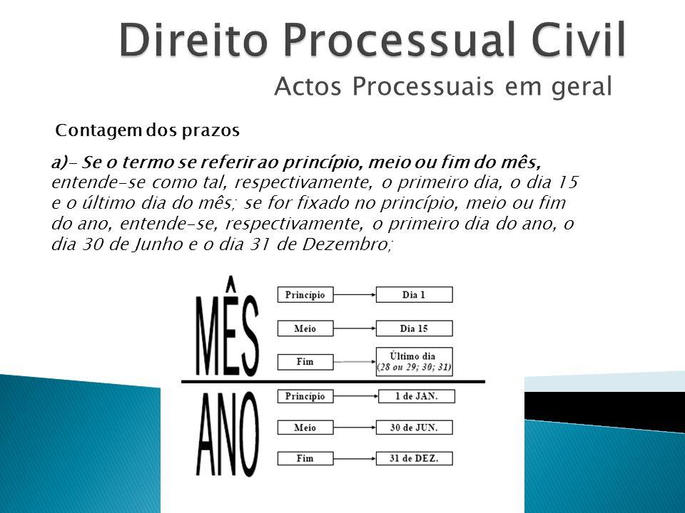 Actos Processuais em geral Contagem dos prazos a)- Se o termo se referir ao princípio, meio ou fim do mês, entende-se como tal, respectivamente, o pri