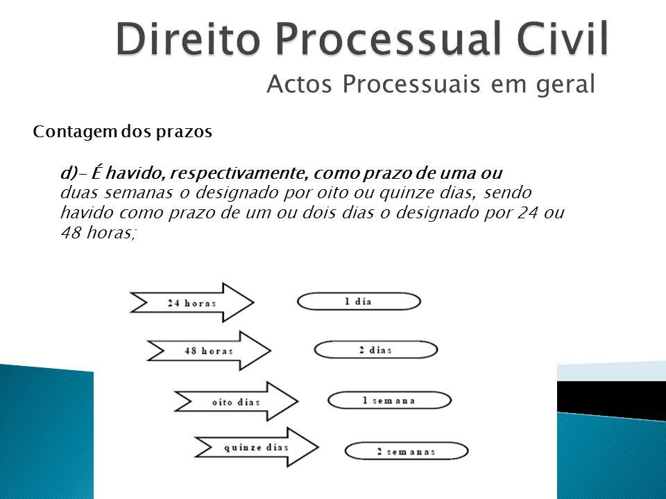 Actos Processuais em geral Contagem dos prazos d)- É havido, respectivamente, como prazo de uma ou duas semanas o designado por oito ou quinze dias, s