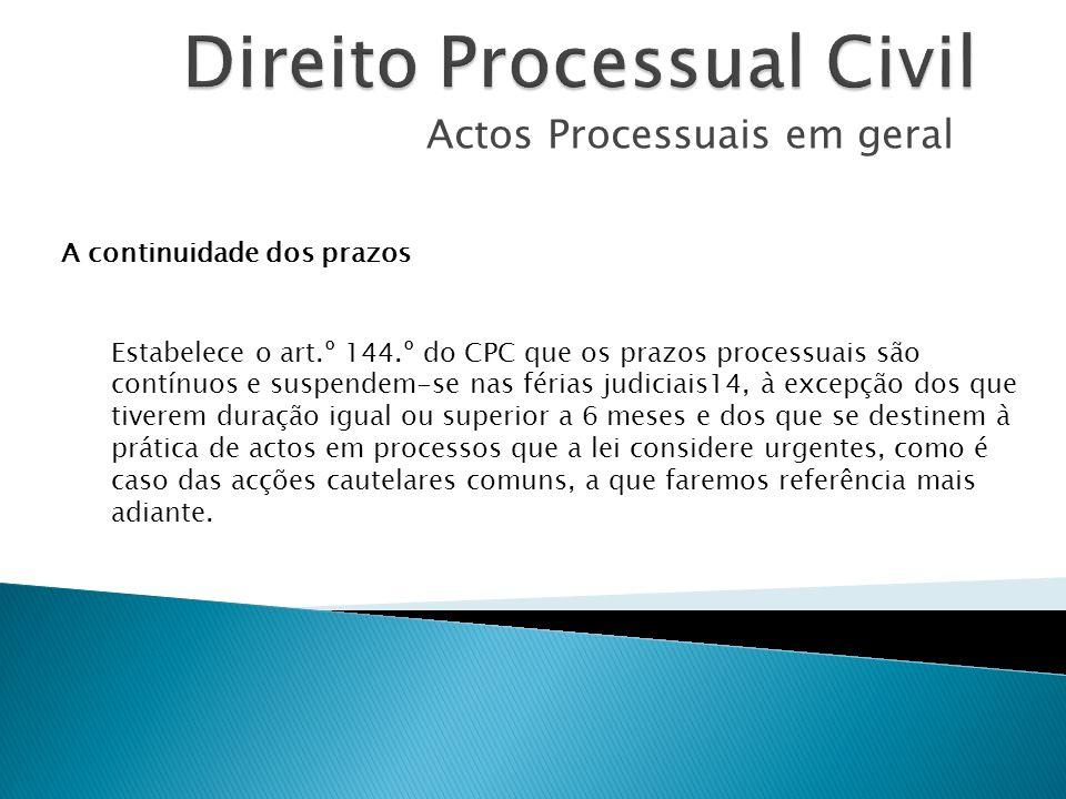 Actos Processuais em geral A continuidade dos prazos Estabelece o art.º 144.º do CPC que os prazos processuais são contínuos e suspendem-se nas férias
