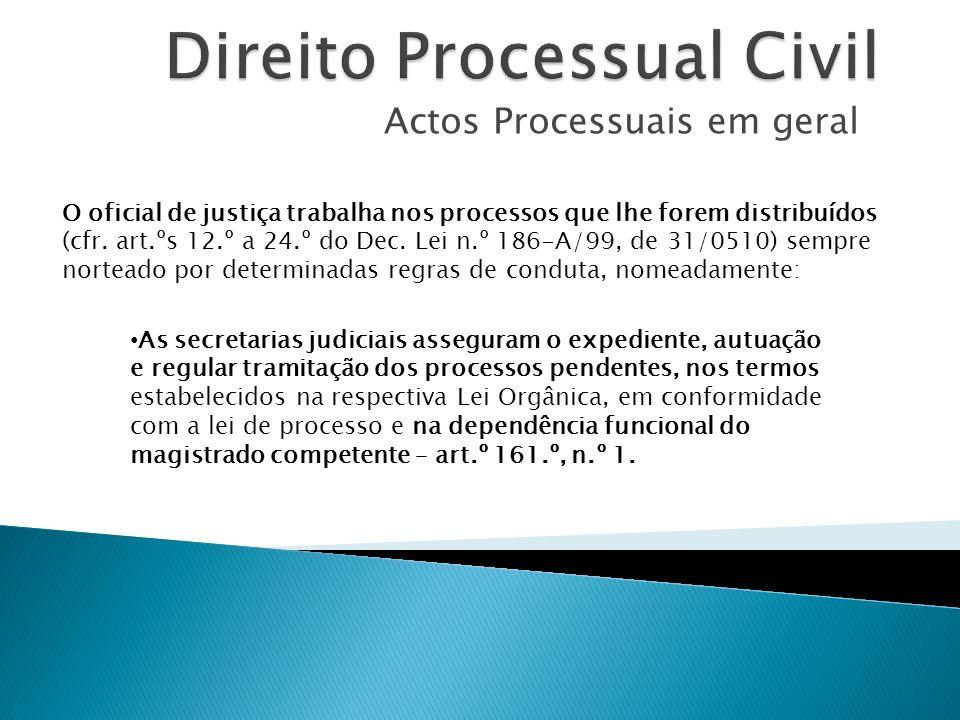 Actos Processuais em geral O oficial de justiça trabalha nos processos que lhe forem distribuídos (cfr. art.ºs 12.º a 24.º do Dec. Lei n.º 186-A/99, d