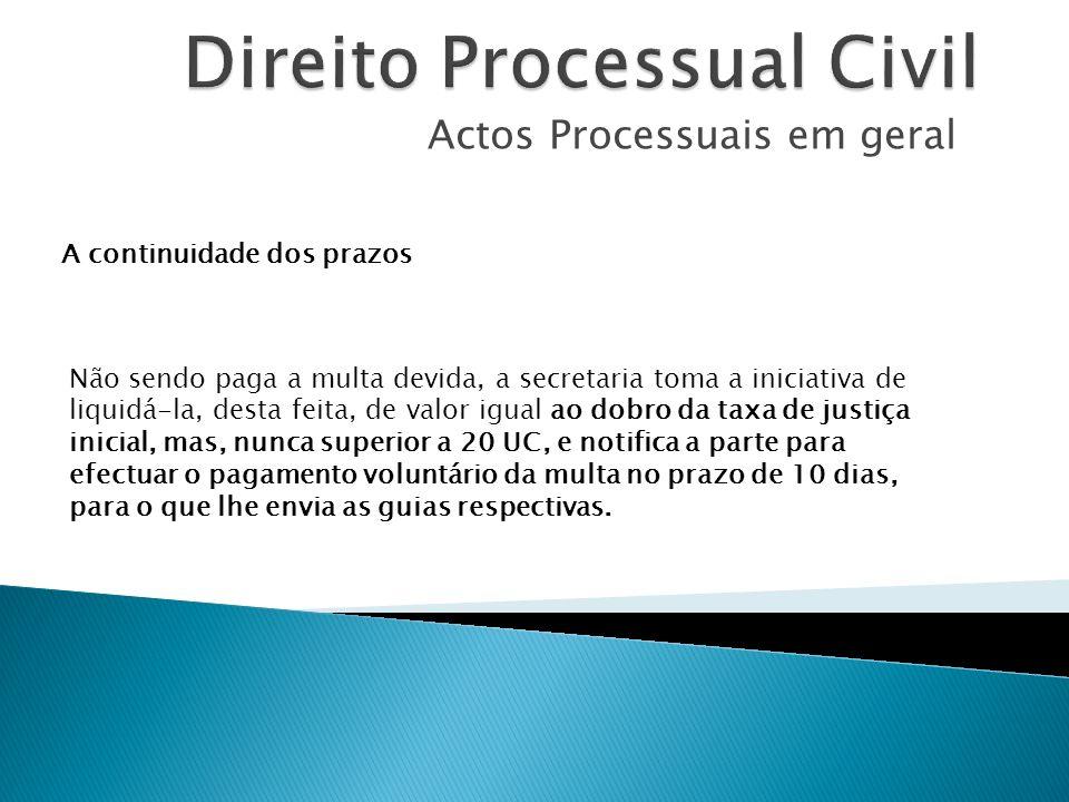 Actos Processuais em geral A continuidade dos prazos Não sendo paga a multa devida, a secretaria toma a iniciativa de liquidá-la, desta feita, de valo