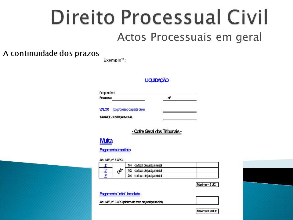 Actos Processuais em geral A continuidade dos prazos