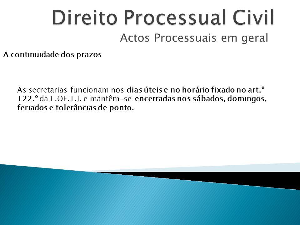 Actos Processuais em geral A continuidade dos prazos As secretarias funcionam nos dias úteis e no horário fixado no art.º 122.º da L.OF.T.J. e mantêm-