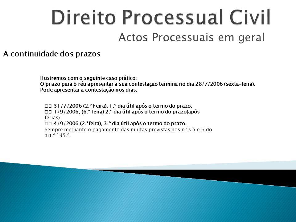 Actos Processuais em geral A continuidade dos prazos Ilustremos com o seguinte caso prático: O prazo para o réu apresentar a sua contestação termina n