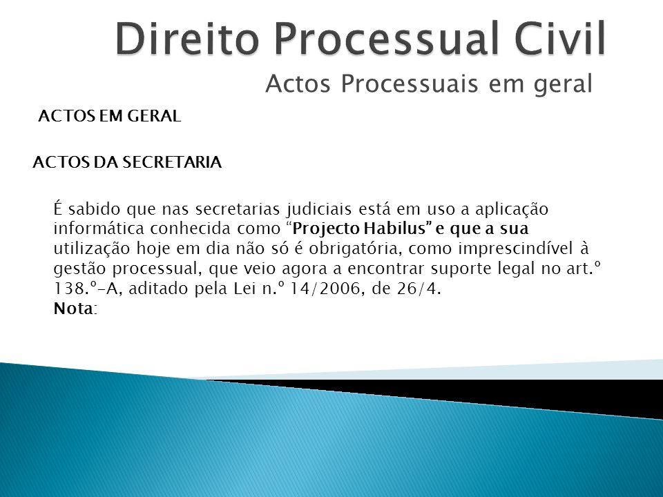 Actos Processuais em geral ACTOS EM GERAL ACTOS DA SECRETARIA É sabido que nas secretarias judiciais está em uso a aplicação informática conhecida com