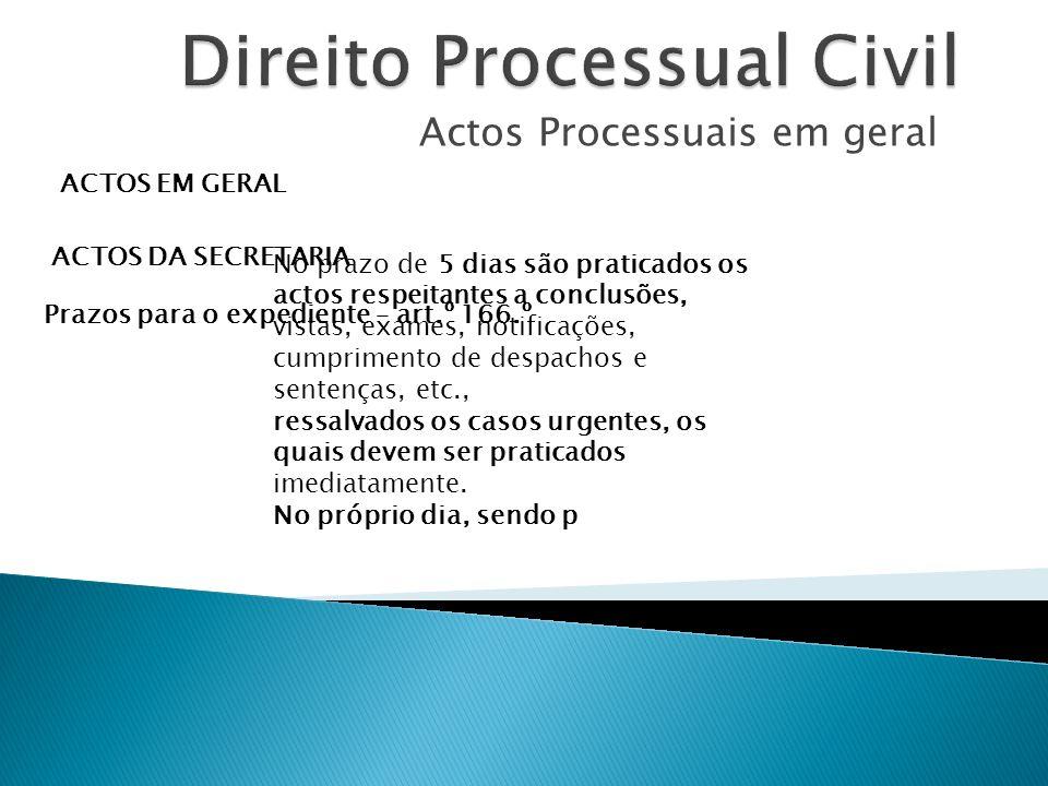 Actos Processuais em geral ACTOS EM GERAL ACTOS DA SECRETARIA Prazos para o expediente – art.º 166.º No prazo de 5 dias são praticados os actos respei