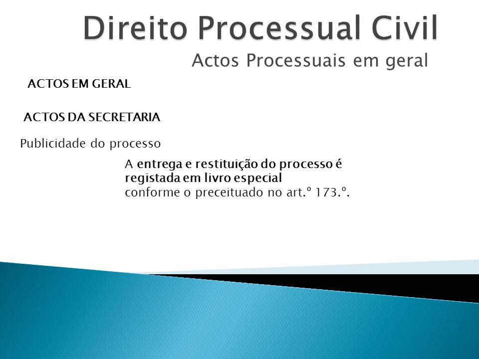 Actos Processuais em geral ACTOS EM GERAL ACTOS DA SECRETARIA Publicidade do processo A entrega e restituição do processo é registada em livro especia