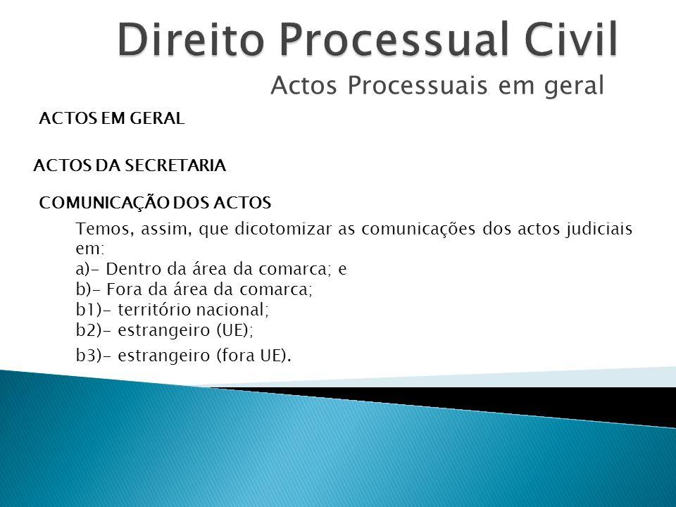 Actos Processuais em geral ACTOS EM GERAL ACTOS DA SECRETARIA COMUNICAÇÃO DOS ACTOS Temos, assim, que dicotomizar as comunicações dos actos judiciais