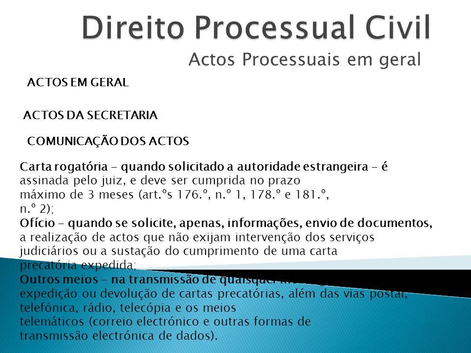 Actos Processuais em geral ACTOS EM GERAL ACTOS DA SECRETARIA COMUNICAÇÃO DOS ACTOS Carta rogatória - quando solicitado a autoridade estrangeira - é a