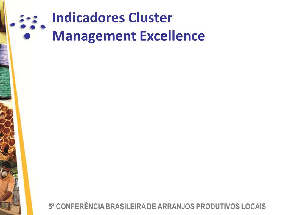 5ª CONFERÊNCIA BRASILEIRA DE ARRANJOS PRODUTIVOS LOCAIS Indicadores Cluster Management Excellence