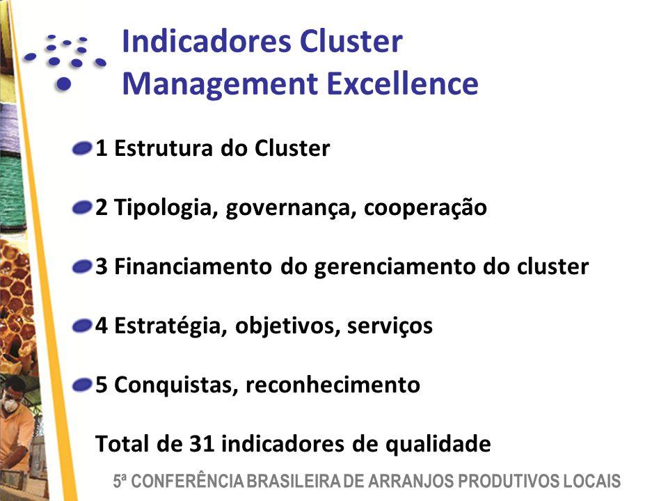 5ª CONFERÊNCIA BRASILEIRA DE ARRANJOS PRODUTIVOS LOCAIS 1 Estrutura do Cluster 2 Tipologia, governança, cooperação 3 Financiamento do gerenciamento do cluster 4 Estratégia, objetivos, serviços 5 Conquistas, reconhecimento Total de 31 indicadores de qualidade Indicadores Cluster Management Excellence