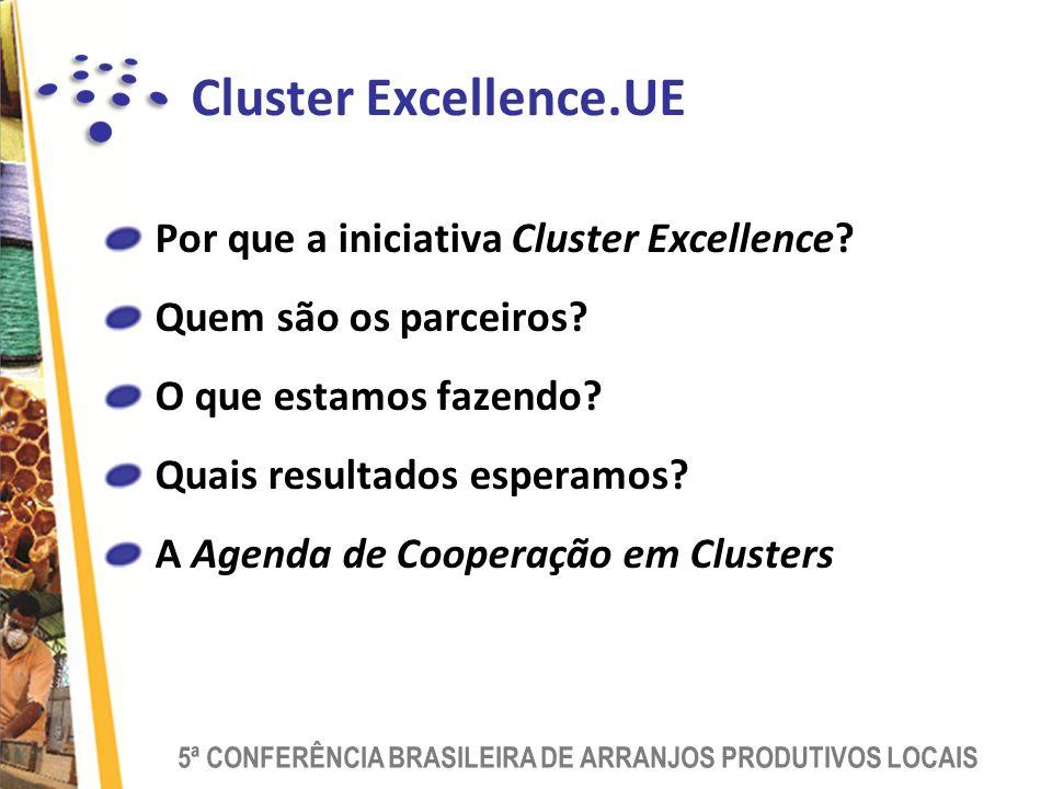 5ª CONFERÊNCIA BRASILEIRA DE ARRANJOS PRODUTIVOS LOCAIS Cluster Excellence.UE Por que a iniciativa Cluster Excellence.