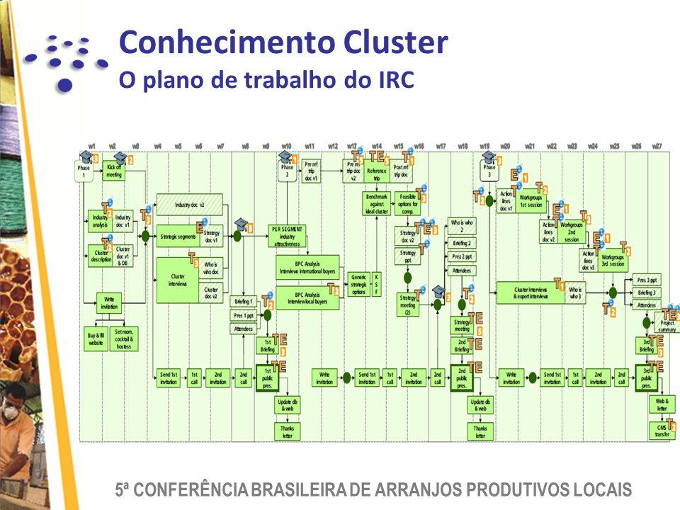5ª CONFERÊNCIA BRASILEIRA DE ARRANJOS PRODUTIVOS LOCAIS Conhecimento Cluster O plano de trabalho do IRC