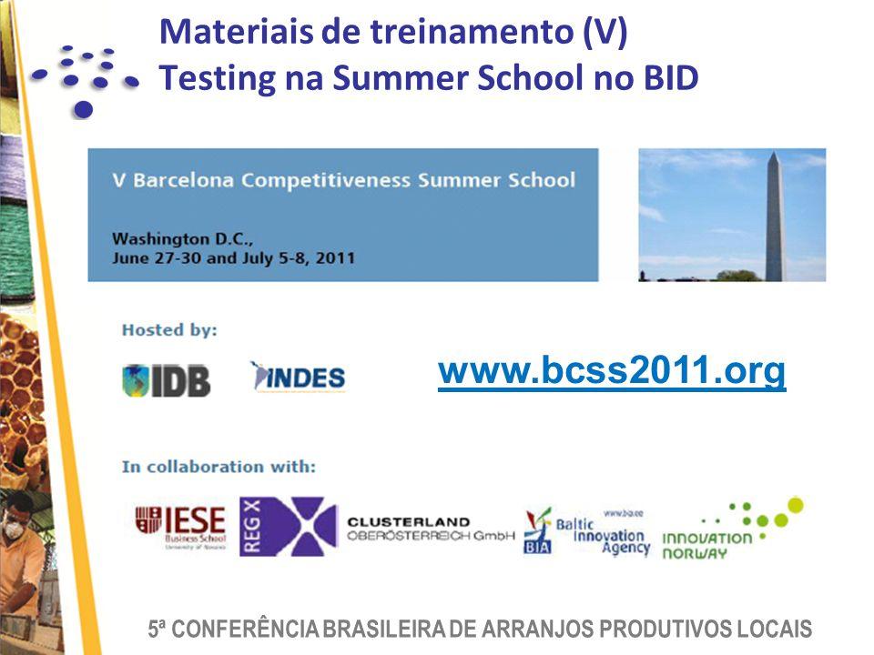 5ª CONFERÊNCIA BRASILEIRA DE ARRANJOS PRODUTIVOS LOCAIS Materiais de treinamento (V) Testing na Summer School no BID www.bcss2011.org