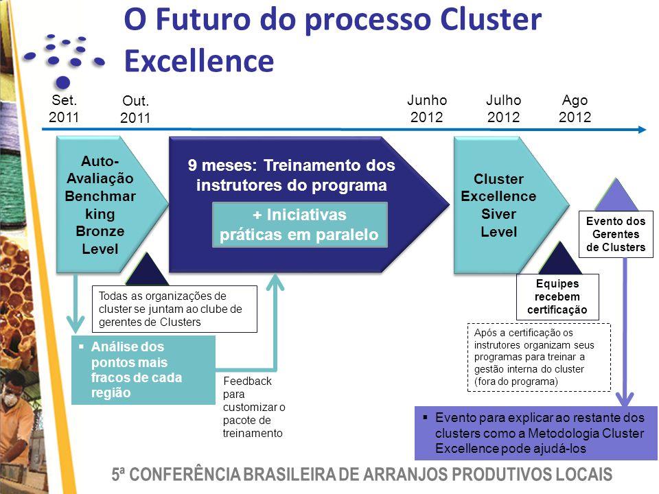 5ª CONFERÊNCIA BRASILEIRA DE ARRANJOS PRODUTIVOS LOCAIS O Futuro do processo Cluster Excellence Auto- Avaliação Benchmar king Bronze Level Auto- Avaliação Benchmar king Bronze Level Set.