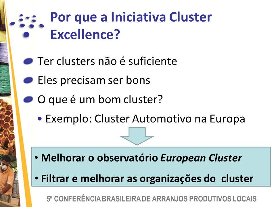 5ª CONFERÊNCIA BRASILEIRA DE ARRANJOS PRODUTIVOS LOCAIS Por que a Iniciativa Cluster Excellence.