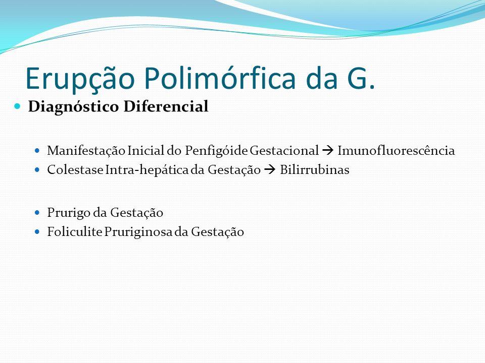 Erupção Polimórfica da G. Diagnóstico Diferencial Manifestação Inicial do Penfigóide Gestacional Imunofluorescência Colestase Intra-hepática da Gestaç