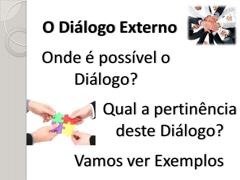 O Diálogo ExternoO Diálogo Externo Onde é possível o Diálogo? Vamos ver ExemplosVamos ver Exemplos Qual a pertinência deste Diálogo?