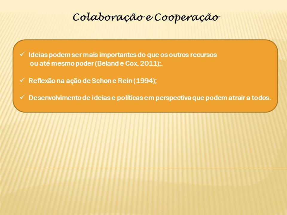 Colaboração e Cooperação Ideias podem ser mais importantes do que os outros recursos ou até mesmo poder (Beland e Cox, 2011);.