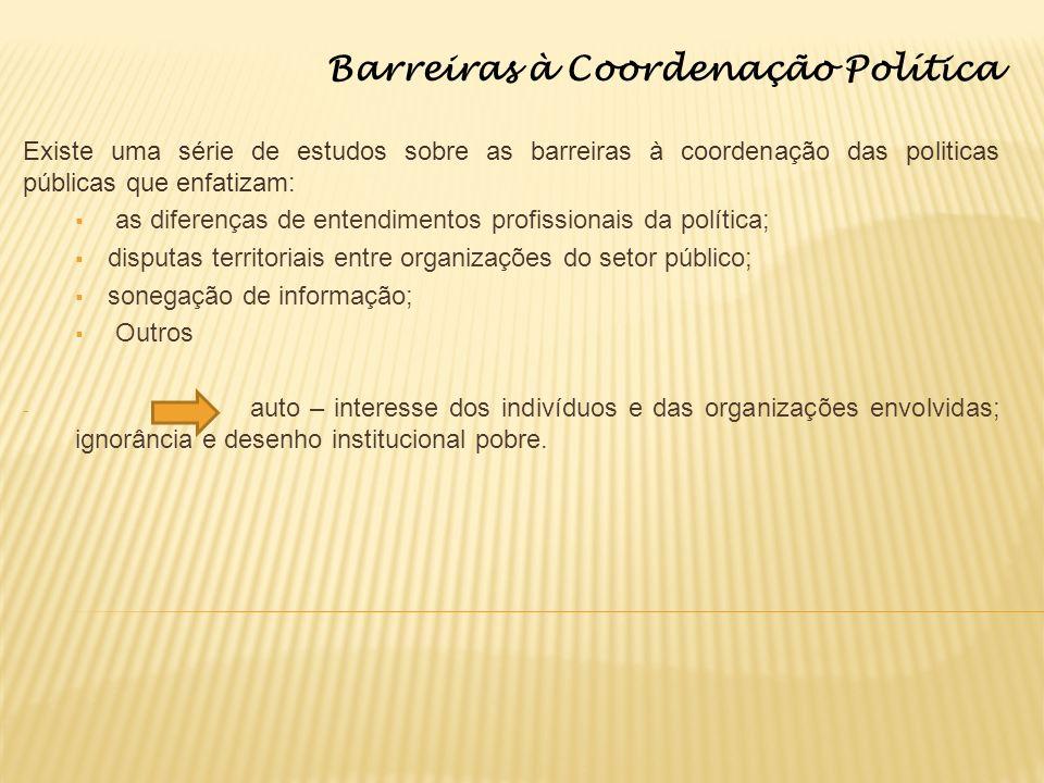 Barreiras à Coordenação Política Existe uma série de estudos sobre as barreiras à coordenação das politicas públicas que enfatizam: as diferenças de e