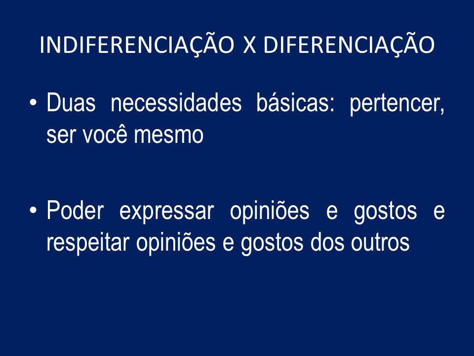 INDIFERENCIAÇÃO X DIFERENCIAÇÃO Duas necessidades básicas: pertencer, ser você mesmo Poder expressar opiniões e gostos e respeitar opiniões e gostos d
