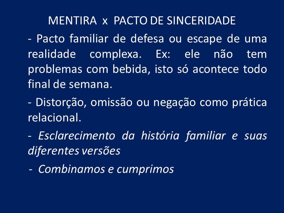 MENTIRA x PACTO DE SINCERIDADE - Pacto familiar de defesa ou escape de uma realidade complexa. Ex: ele não tem problemas com bebida, isto só acontece