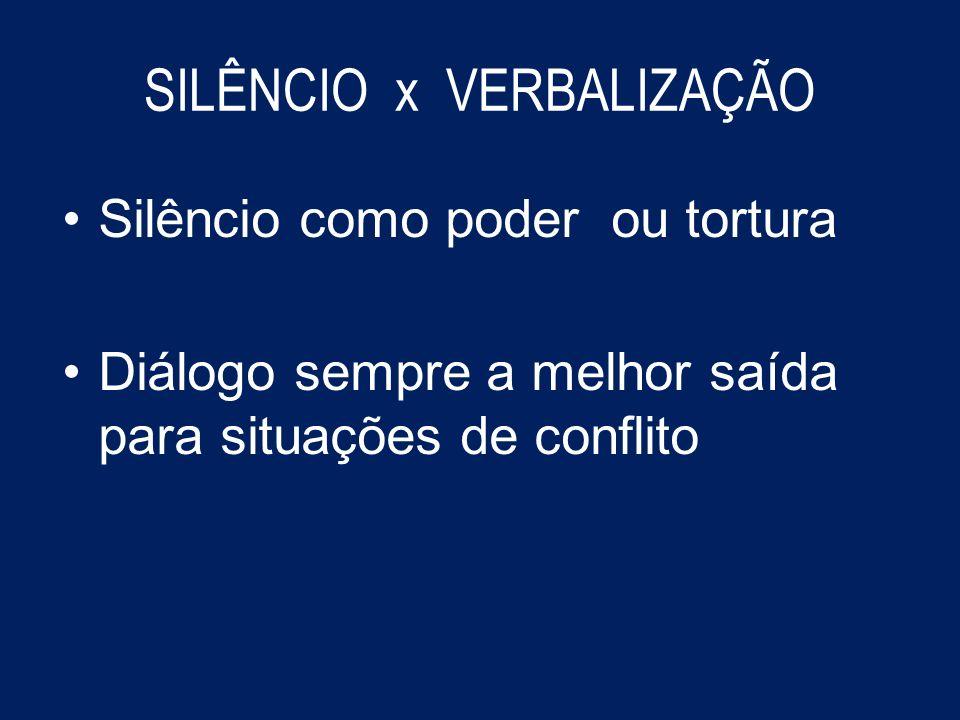 SILÊNCIO x VERBALIZAÇÃO Silêncio como poder ou tortura Diálogo sempre a melhor saída para situações de conflito