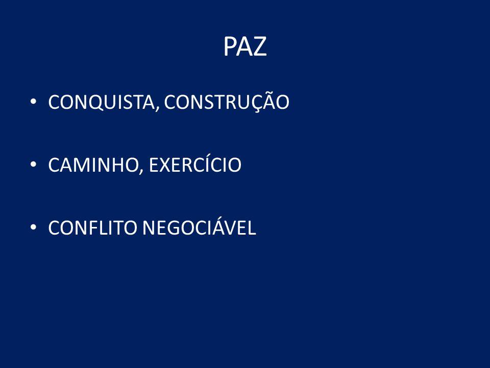 PAZ CONQUISTA, CONSTRUÇÃO CAMINHO, EXERCÍCIO CONFLITO NEGOCIÁVEL
