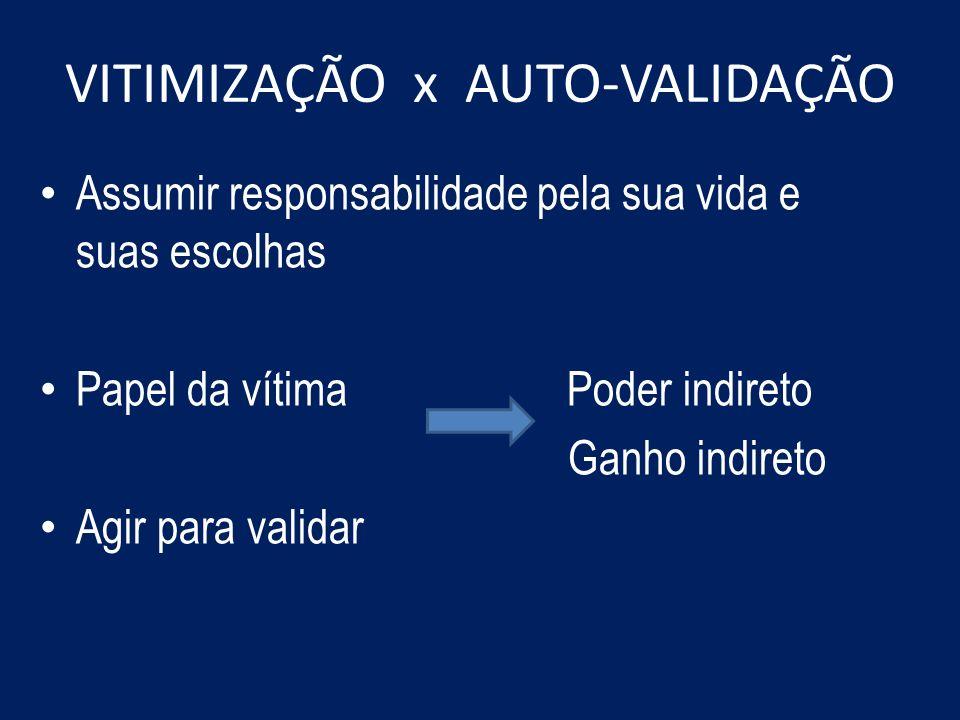 VITIMIZAÇÃO x AUTO-VALIDAÇÃO Assumir responsabilidade pela sua vida e suas escolhas Papel da vítima Poder indireto Ganho indireto Agir para validar