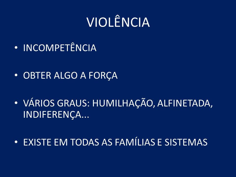 VIOLÊNCIA INCOMPETÊNCIA OBTER ALGO A FORÇA VÁRIOS GRAUS: HUMILHAÇÃO, ALFINETADA, INDIFERENÇA... EXISTE EM TODAS AS FAMÍLIAS E SISTEMAS