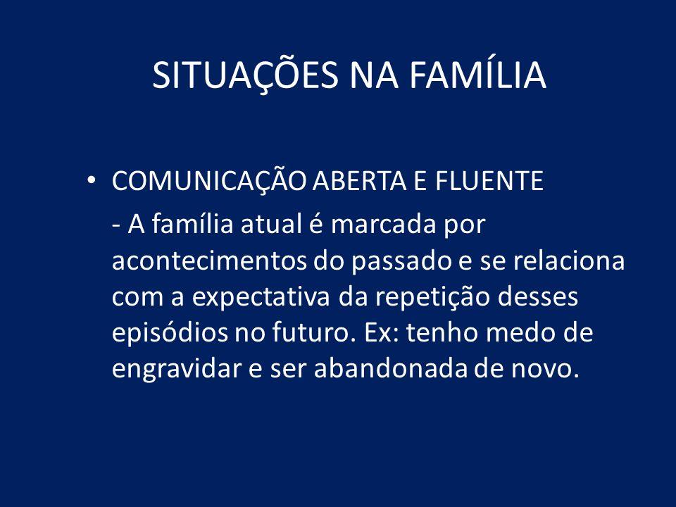SITUAÇÕES NA FAMÍLIA COMUNICAÇÃO ABERTA E FLUENTE - A família atual é marcada por acontecimentos do passado e se relaciona com a expectativa da repeti