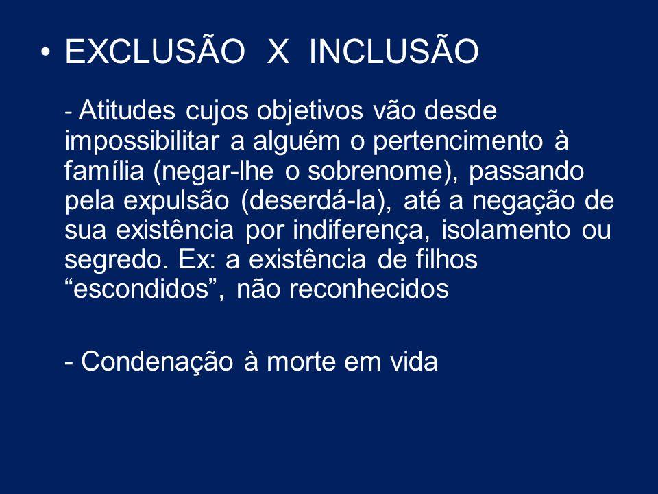 EXCLUSÃO X INCLUSÃO - Atitudes cujos objetivos vão desde impossibilitar a alguém o pertencimento à família (negar-lhe o sobrenome), passando pela expu