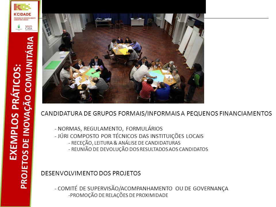 EXEMPLOS PRÁTICOS: PROJETOS DE INOVAÇÃO COMUNITÁRIA CANDIDATURA DE GRUPOS FORMAIS/INFORMAIS A PEQUENOS FINANCIAMENTOS - NORMAS, REGULAMENTO, FORMULÁRIOS - JÚRI COMPOSTO POR TÉCNICOS DAS INSTITUIÇÕES LOCAIS - RECEÇÃO, LEITURA & ANÁLISE DE CANDIDATURAS - REUNIÃO DE DEVOLUÇÃO DOS RESULTADOS AOS CANDIDATOS DESENVOLVIMENTO DOS PROJETOS - COMITÉ DE SUPERVISÃO/ACOMPANHAMENTO OU DE GOVERNANÇA -PROMOÇÃO DE RELAÇÕES DE PROXIMIDADE