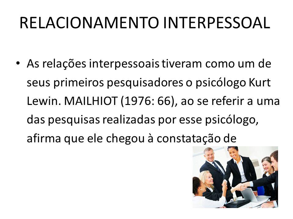 RELACIONAMENTO INTERPESSOAL As relações interpessoais tiveram como um de seus primeiros pesquisadores o psicólogo Kurt Lewin. MAILHIOT (1976: 66), ao