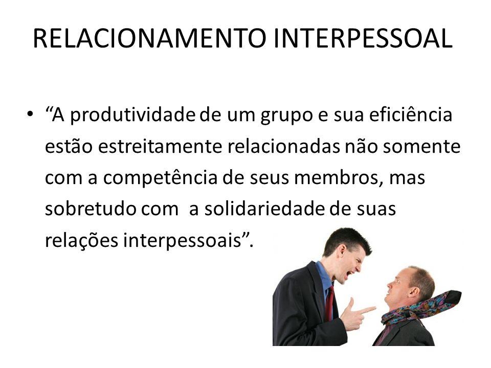 RELACIONAMENTO INTERPESSOAL A produtividade de um grupo e sua eficiência estão estreitamente relacionadas não somente com a competência de seus membro