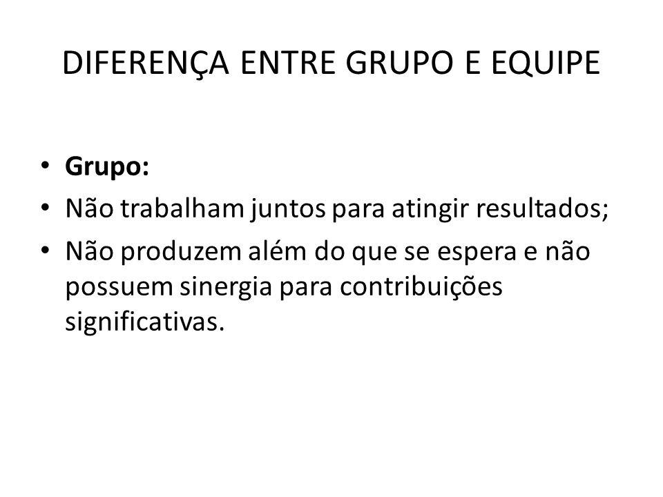 DIFERENÇA ENTRE GRUPO E EQUIPE Grupo: Não trabalham juntos para atingir resultados; Não produzem além do que se espera e não possuem sinergia para con