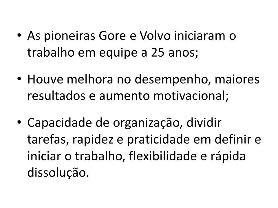 As pioneiras Gore e Volvo iniciaram o trabalho em equipe a 25 anos; Houve melhora no desempenho, maiores resultados e aumento motivacional; Capacidade