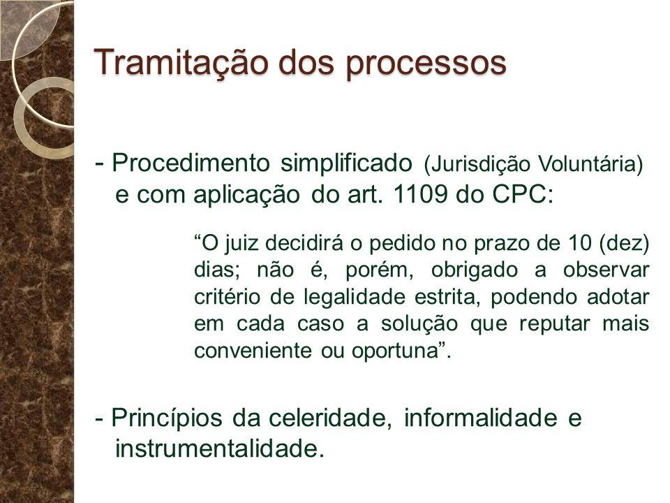 Tramitação dos processos - Procedimento simplificado (Jurisdição Voluntária) e com aplicação do art. 1109 do CPC: O juiz decidirá o pedido no prazo de