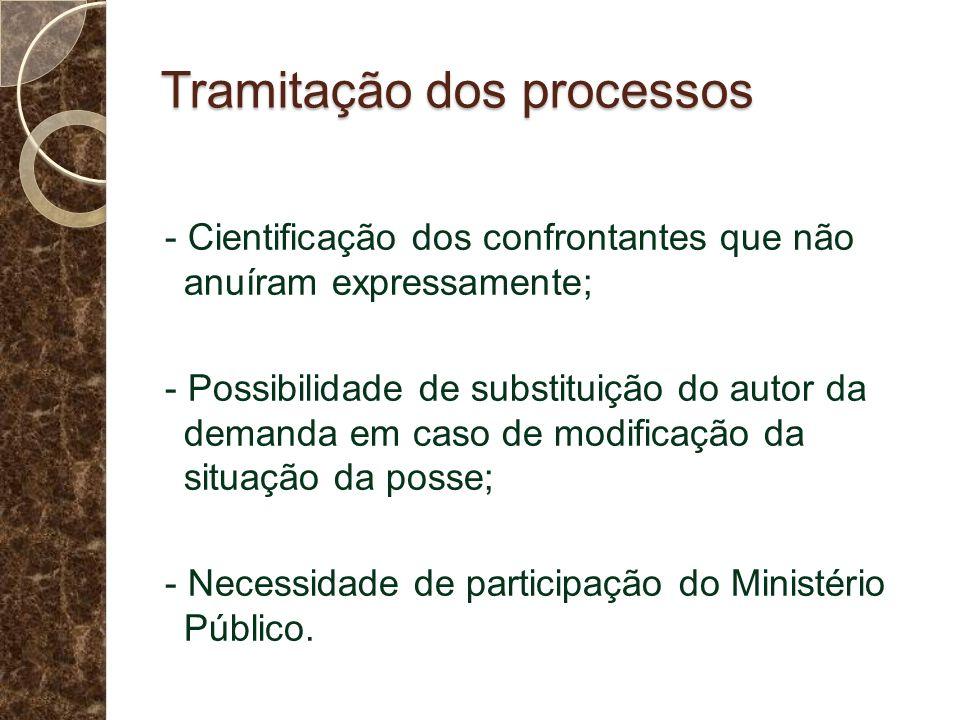 Tramitação dos processos - Cientificação dos confrontantes que não anuíram expressamente; - Possibilidade de substituição do autor da demanda em caso