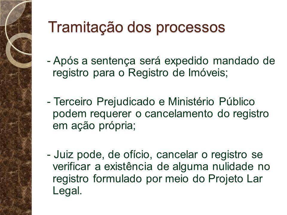 Tramitação dos processos - Após a sentença será expedido mandado de registro para o Registro de Imóveis; - Terceiro Prejudicado e Ministério Público p