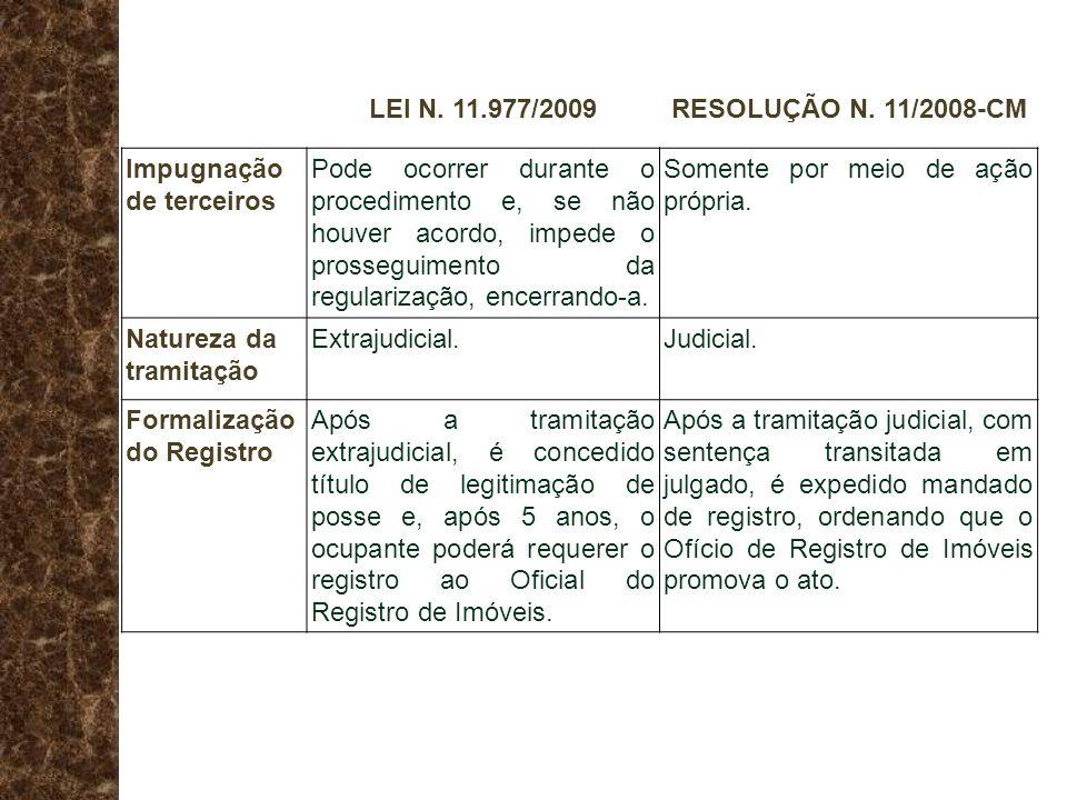 LEI N. 11.977/2009RESOLUÇÃO N. 11/2008-CM Impugnação de terceiros Pode ocorrer durante o procedimento e, se não houver acordo, impede o prosseguimento